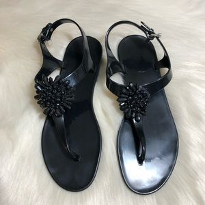 Coach Hilda Black Beaded Jelly Sandals